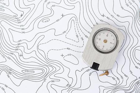 地形地図コンパス。 写真素材