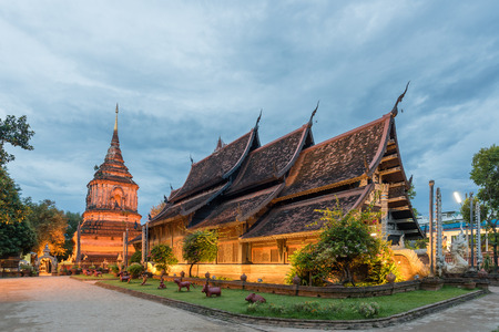 Lok Molee Temple in twlight time, Chiang Mai, Thailand.