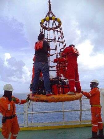 tranfer: Personal basket tranfer form oil&gas rig to supply boat.
