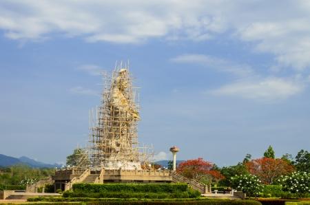Area repair Guanyin high 18 meters at Chiang Mai Thailand photo
