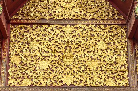 thai painting: golden Thai painting beautiful on old wood