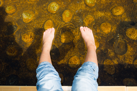 ryokan: spa and onsen, treatment of feet by hot spring and natural water