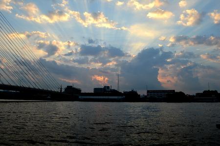 Sunrise, Chao Phraya river, Bangkok  Fresh new day Skyline, river photo