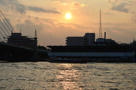 new day: Sunrise, Chao Phraya river, Bangkok  Fresh new day Skyline, river
