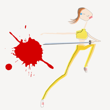 girl with sword in action with blood spot
