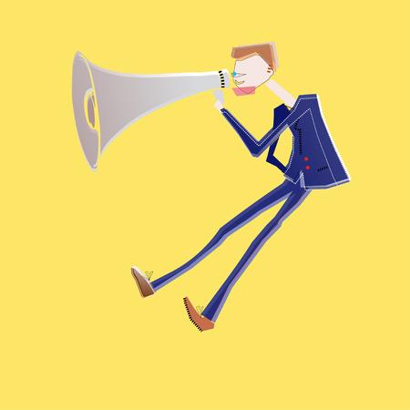 business man shouting on megaphone Stock Illustratie