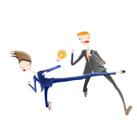 Illustration of business man and woman fighting for a bulb of idea Stock Illustratie