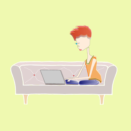 illustration of girl working with laptop on couch at home Stock Illustratie