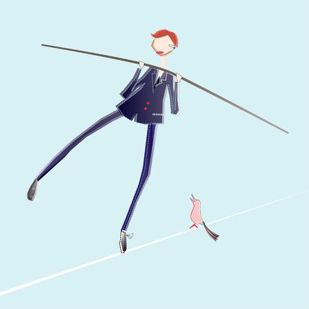tightrope: illustratie van koord zakenman in gevaar Stock Illustratie
