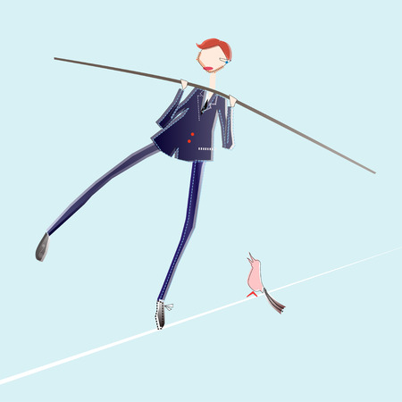 contingency: illustration of tightrope business man at risk