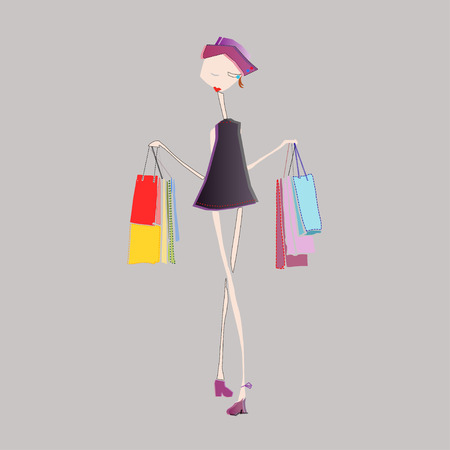illustration of fashionable girl with shopping bags in hands Stock Illustratie