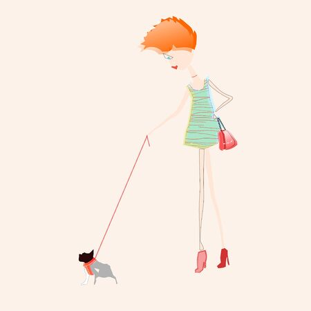 ramble: illustration of red hair girl with a red bag, walking her bulldog Illustration