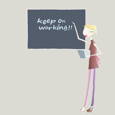 illustration of teacher presenting in front of a blackboard Stock Illustratie