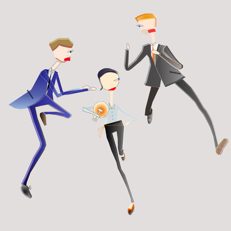 eagerness: illustration of business men fighting for bulb of idea