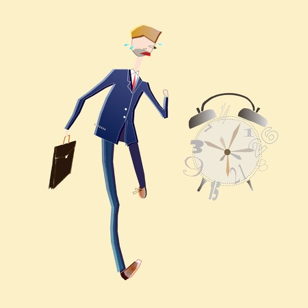 illustration of latecomer business man in hurry with clock