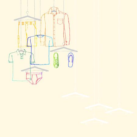 illustration of window display, men s wear, summer collection