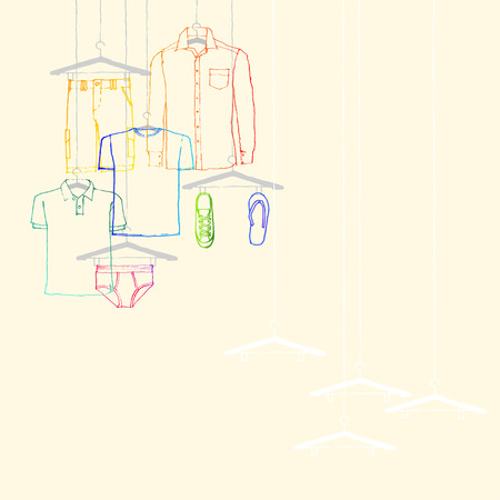 illustration of window display, men s wear, summer collection Vector