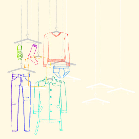 illustration of window display, men s wear fall collection