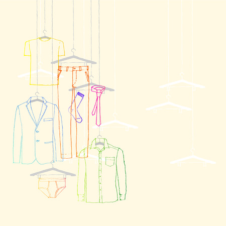 window display: illustration of window display, men s wear, suit and tie Illustration