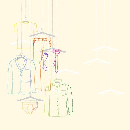 illustration of window display, men s wear, suit and tie Çizim