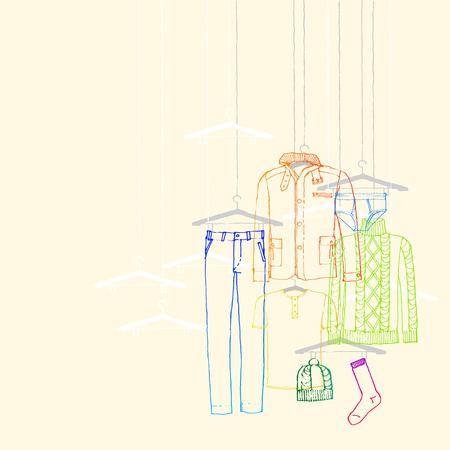 illustration of window display, men s wear, winter collection Stock Illustratie