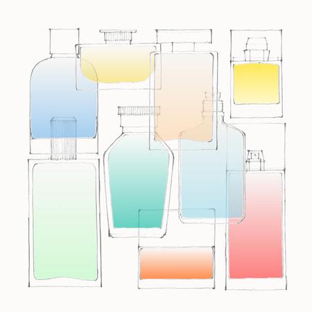Illustration of colored perfume bottles on white ground Stock Illustratie