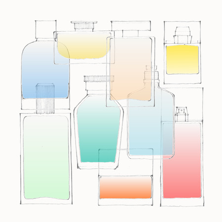 superficial: Illustration of colored perfume bottles on white ground Illustration