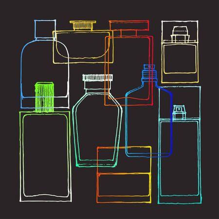 illustration of colored perfume bottles on blackground