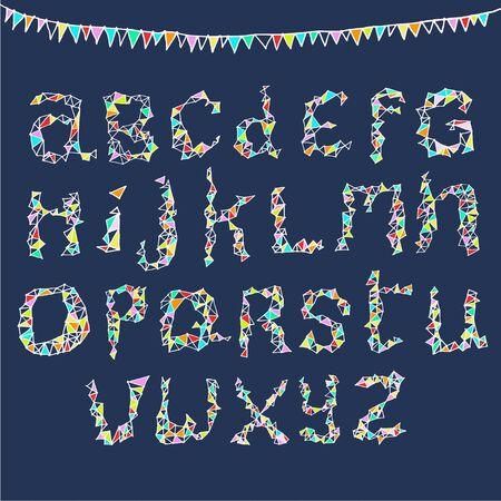 Alphabet A-Z in fun party style Stock Illustratie