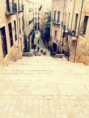 Street view from a stairway, Girona, Spain Stockfoto