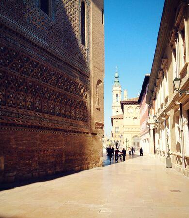Street view on arabian style facade in Zaragoza, Spain