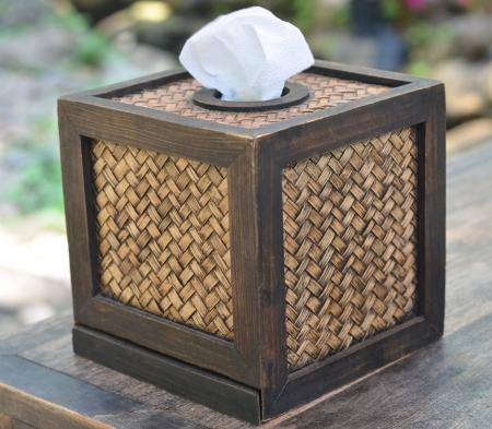 tejido: Caja de pa�uelos Foto de archivo