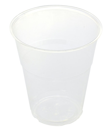 plastic cup isolated on white background  Stock Photo