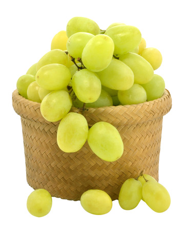 Green grapes on white background photo