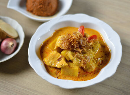 Thai food pork curry with spicy photo