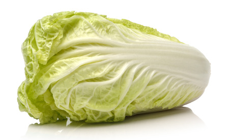 green cabbage on white background photo