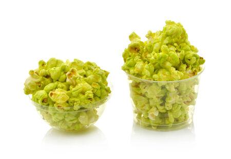 green popcorn isolated on white background photo