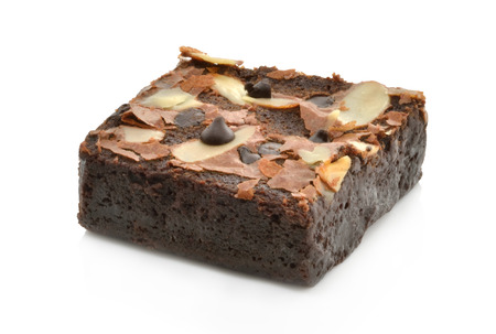 brownie with walnuts On white background