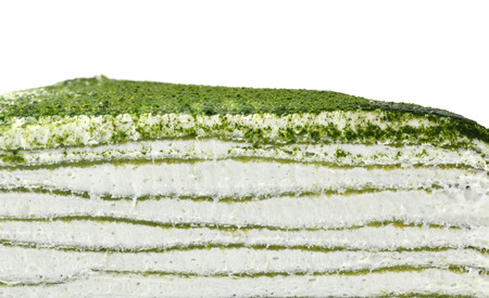 Green tea Layer cake on white background photo