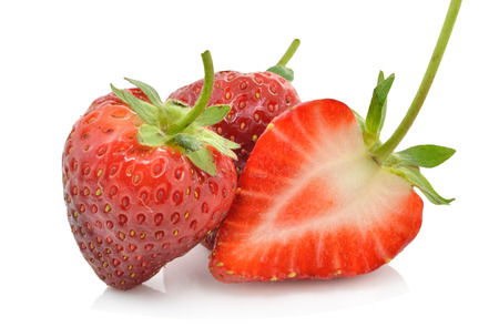 Strawberries berry sliced on white background
