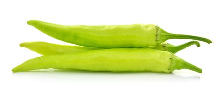 green chilli on white background