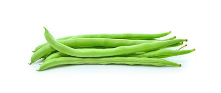 common bean: green beans on white background Stock Photo