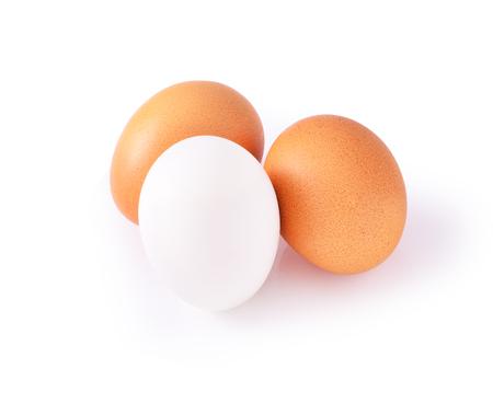 Fresh egg and Salted egg on white background Stock Photo