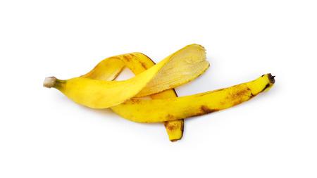 banana peel on white background photo