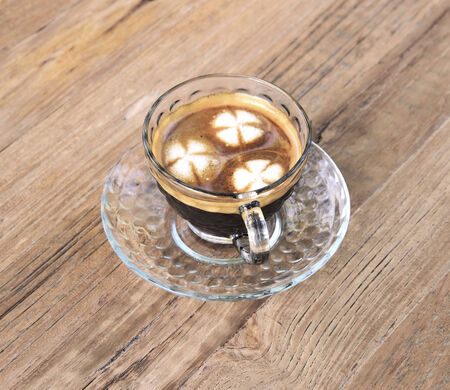 americano: Hot Americano coffee on wooden table