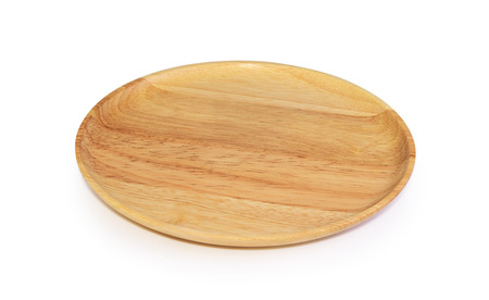 wooden plate on white background