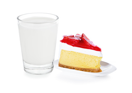 glass of milk and Strawberry Cake on white background
