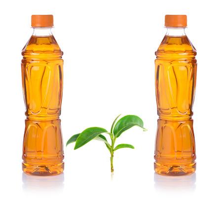 Bottle of ice green tea on white background