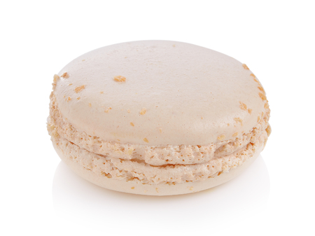 macaron with Almond on white background, Dessert.