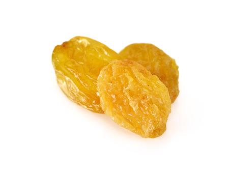 sultanas: Yellow sultanas raisins on white background